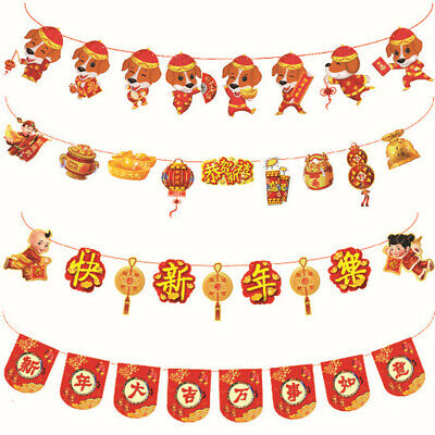 Happy Chinese New Year Bunting Banner Hanging Party Supply Garland Decor -