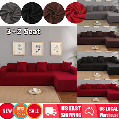 L-Shape 3+2 Seat Stretch Elastic Fabric Sofa Cover Sectional /Corner Couch Cover
