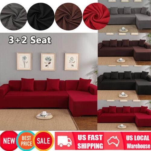 L-Shape 3+2 Seat Stretch Elastic Fabric Sofa Cover Sectional