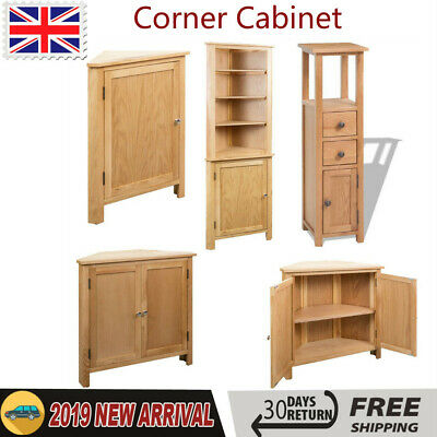 Vintage Tall Corner Cabinet Solid Oak Wood Sideboard Rustic Storage Cupboard