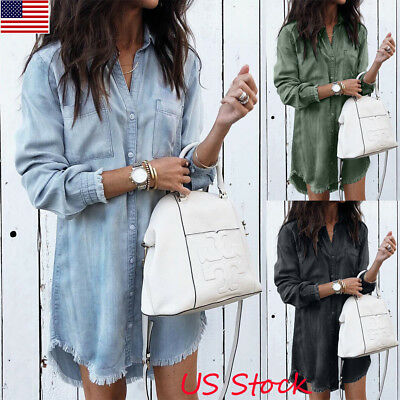 - USA Women Casual V Neck Blouse Tassel Denim Top Ladies Tunic T Shirt Mini Dress
