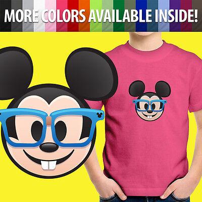 Mickey Emoji (Nerd Glasses Mickey Mouse Emoji Disney Face Nerdy Unisex Kids Tee Youth T-Shirt)