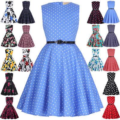 kleider 1950er Jahre Blumenmuster Swing Pin Up (Retro Mädchen Kleider)