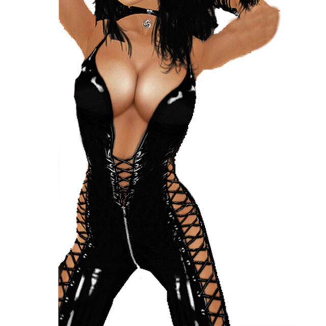 Lady Open Crotch Exposed Chest PVC Faux Leather Bodysuit Jumpsuit Clubwear BF