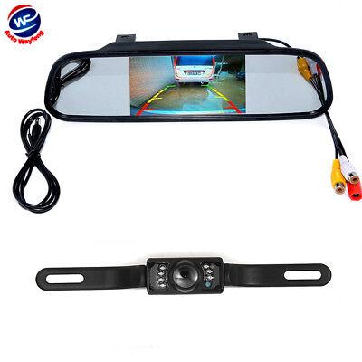 "4.3"" Car Rear View Mirror Monitor Backup Camera Kit Rearview System Night Vision"