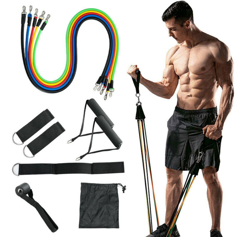 11 PCS Resistance Bands Fitness Tube Workout Band Set Yoga Pilates Abs Exercise