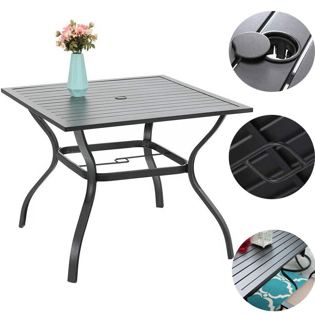 "Garden Furniture - 37 ""  Outdoor Patio Dining Table Garden Metal Table Furniture with Umbrella Hole"