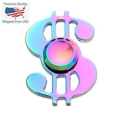 US Dollar MONEY Hand Fidget SIGN Spinner EDC Toy Rainbow Cool Spinner Adult
