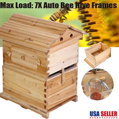 Cedarwood Beehive House Beekeeping Box 7 Pcs Auto Honey Bee Hive Frames Usa