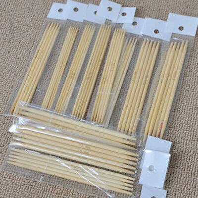 55Pcs Double Pointed Bamboo Knitting Needles Sweater Glove Knit Tool Set New