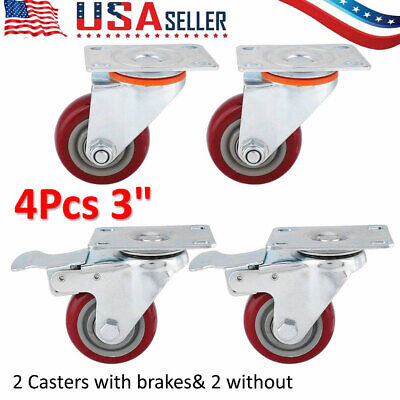 Set Of 4 Heavy Duty Swivel Casters W2 Lock Brakes 3 Polyurethane Wheels