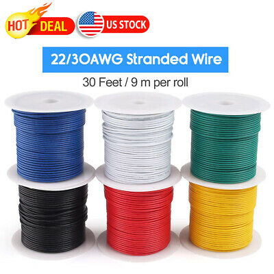 30 Feet Standed Equipment Wire 22awg 30awg Cable Cord Hookup 22 Gauge 6 Colors