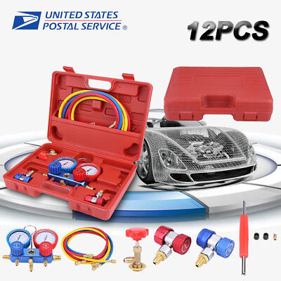 R134a Dual Manifold Gauge Set Ac Ac 5ft Wcolor Hose Air Conditioner Hvac 60