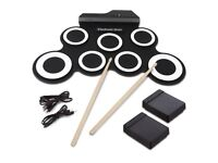 Electronic Drum, Hizek 7 Pad Portable Roll up Drum Pad Kits Foldable for Beginners and Children