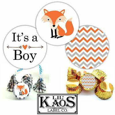 It's a Boy Sticker Labels Woodland Baby Shower Fox Chevron Kisses Candy Favors