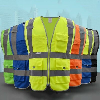 Mesh High Visibility Neon Zipper Front Safety Vest With Pockets Strips Medium