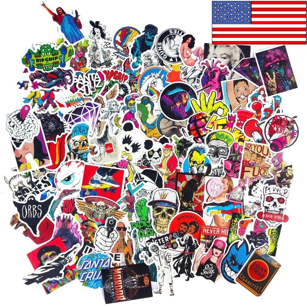 300 Random Skateboard Stickers bomb Vinyl Laptop Luggage Dec