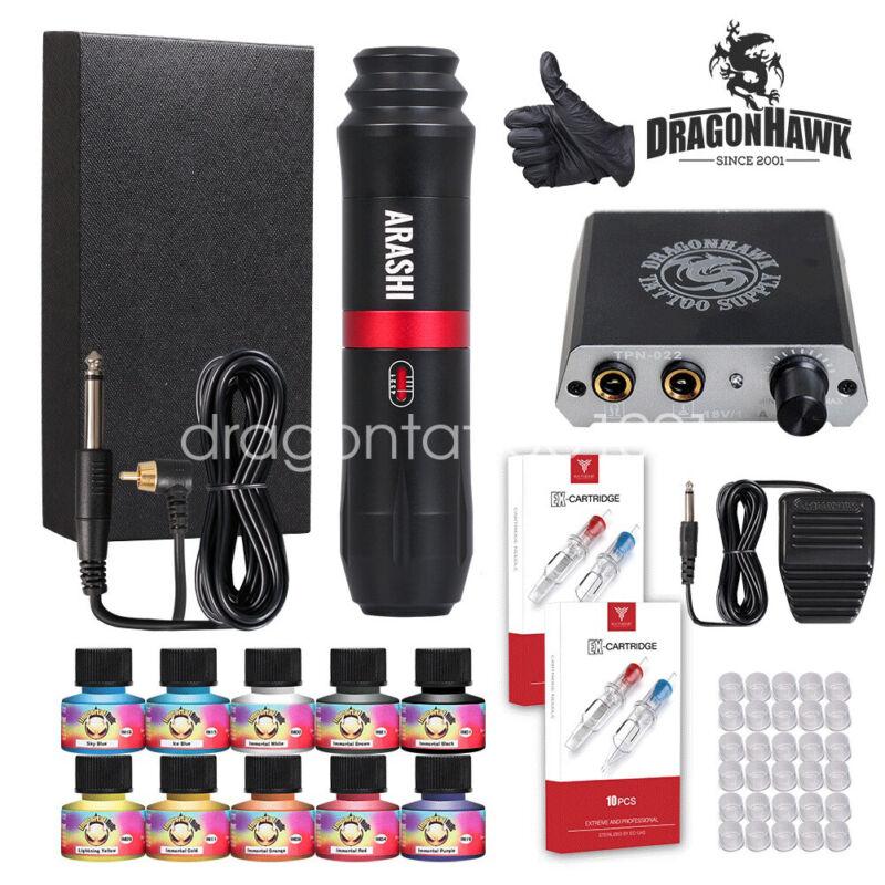 Dragonhawk Tattoo Kit Motor Pen Machine Gun Color Inks Power Supply Needles