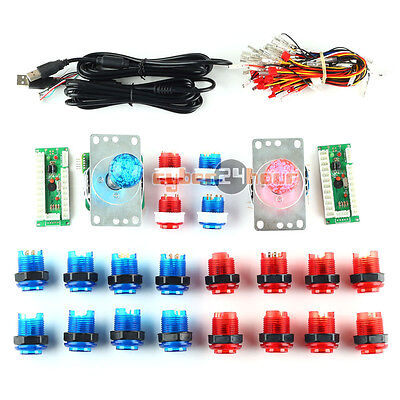 2 Players Arcade DIY Kits Parts 20 LED Illuminated Push Buttons To USB Encoder