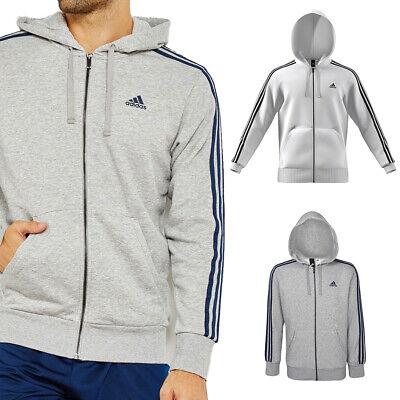 Adidas Men's Essential 3 Stripe Front Pocket Zip Up Hoodie Activewear
