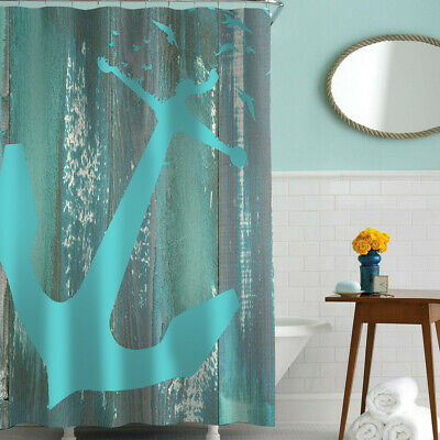Nautical Anchor Shower Curtain Set Navy Blue Fabric Metal Grommet Hooks included - Nautical Shower Curtain Hooks