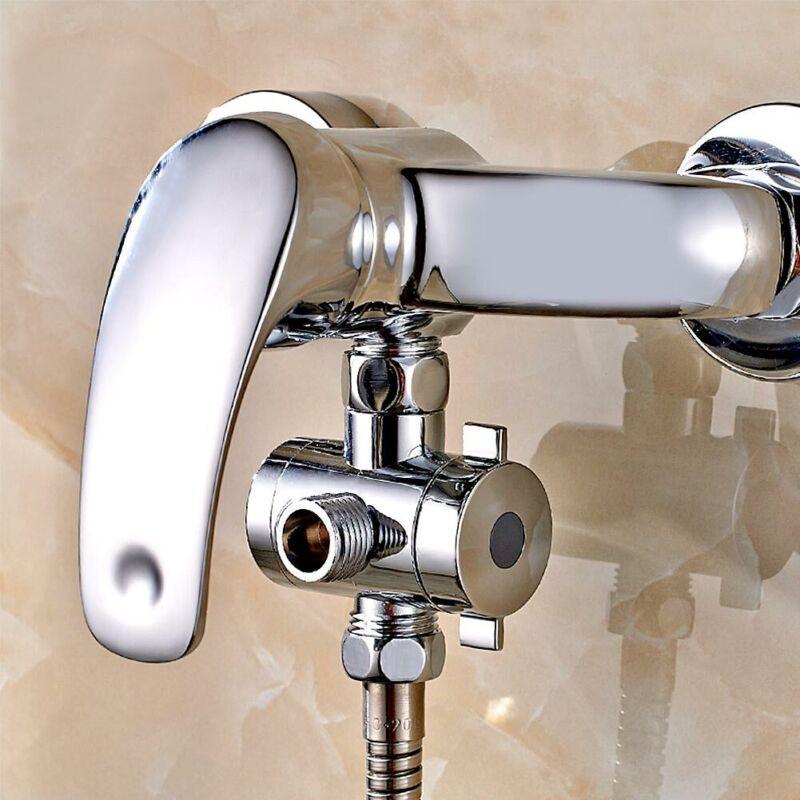 Shower+Head+3-Way+Adjustable+Handheld+Diverter+Arm+Mounted+T-adapter+Valve+G1%2F2%22