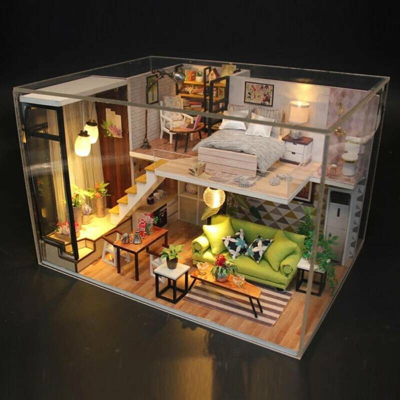 Dollhouse Miniature DIY Kit Wood Toy Doll House Cottage W