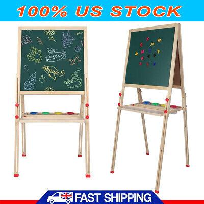 Adjustable Chalkboard Children Kid 2In1 Double Side Wooden Easel Chalk Board Set Double Chalkboard Easel