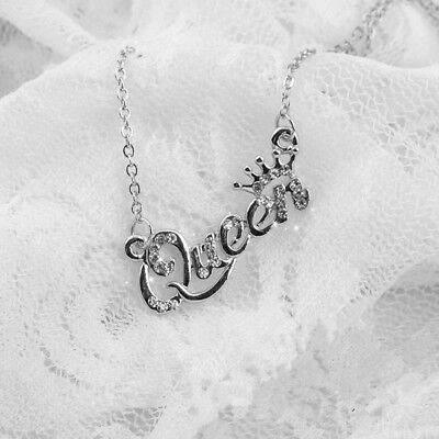 Silver Letter Queen Pendant Shiny Rhinestone Clavicle Chain Necklace Cheap](Cheap Necklaces)