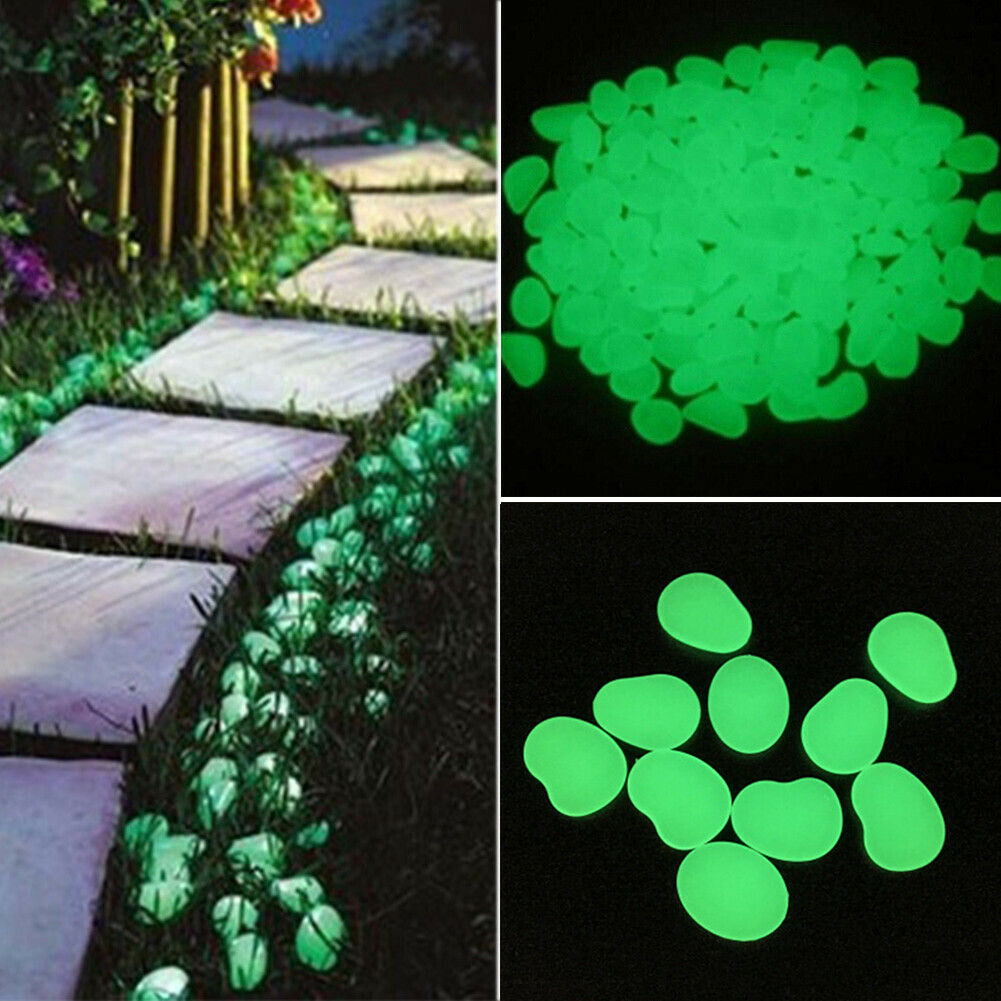 200//400//600pcs Glow in the Dark Pebbles Stone Home Garden Walkway Fish Tank DIY
