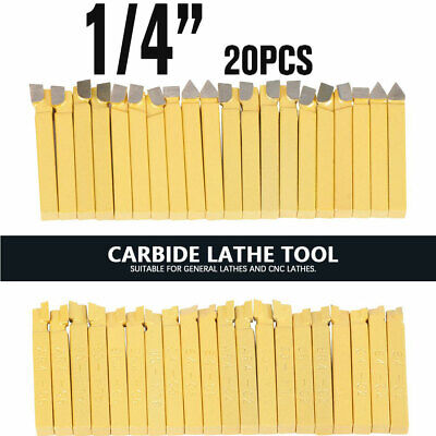 20pcs 14 Metal Lathe Tooling Carbide Tip Tipped Cutter Tools Bit Cutting Set