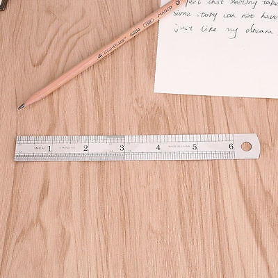 6 Inch   15 Cm Stainless Steel Metal Straight Ruler Precision Scale Double Sided