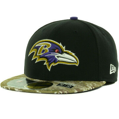 New Era Baltimore Ravens On Field Salute Service 13 Camo Visor Fitted Cap Hat Field Visor Hat