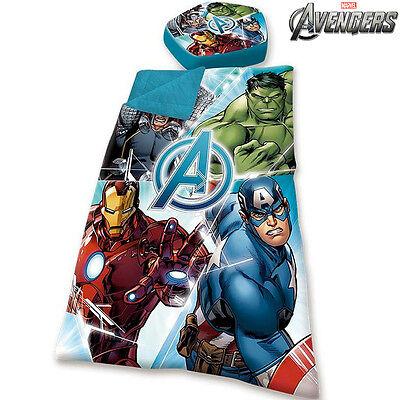 Sacco a Pelo Bambini Avengers Marvel Piumino da Letto Con Cuscino 115x70cm Kids