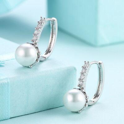 18K White Gold Filled York Faux Pearl Bauble Drop Earrings Light Gray