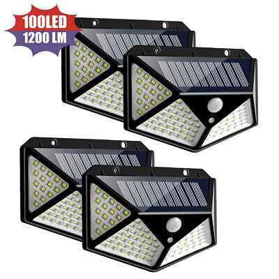 100 LED Solar Powered Light Outdoor Motion Sensor Wall Yard Spa Garden Lamps -