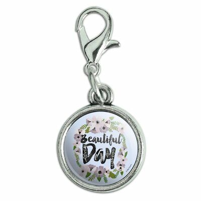 Bridal Clasp Bracelet - Beautiful Day Flowers Wedding Bridal Shower Bracelet Charm with Lobster Clasp
