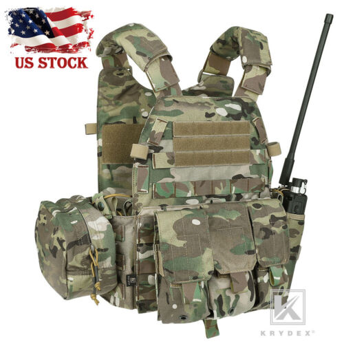 KRYDEX LBT-6094A Plate Carrier Tactical Body Armor Combat Vest w/ Pouch Multicam
