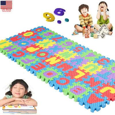 36PCS Soft Eva Foam Cute Kids Play Floor Mat Alphabet Numbers DIY Puzzle Jigsaw