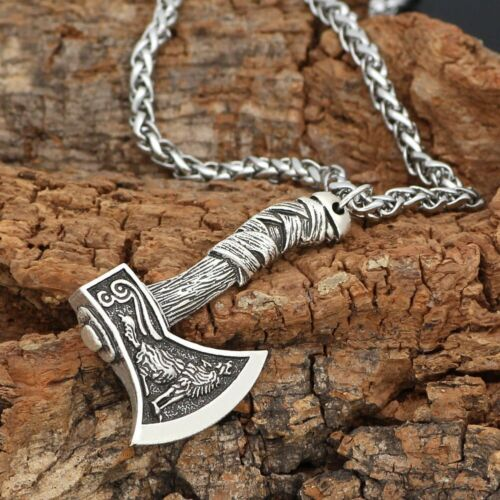 MENDEL Mens Vintage Norse Viking Animal Raven Axe Wolf Pendant Necklace Chain