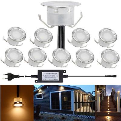 10er Set Ø31mm LED Einbauleuchte Einbaustrahler Außen Garten Lampe warmweiß IP67 ()