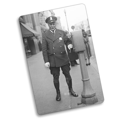Black & White Cop Walking The Beat Call Box Design 8x12 In. Aluminum Sign