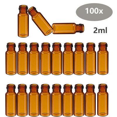 100pcs Set 2ml Glass Vials Auto-sampler Vials Hplc Gc Screw Top Amber 9-425 Lab