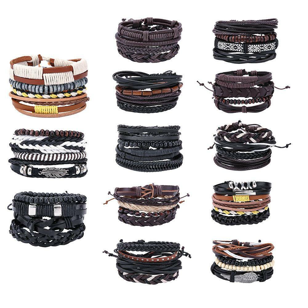 Vintage Handmade Braid PU Bracelet Multilayer Wrap Bracelets