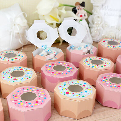 10x Donut Paper Candy Box for Baby Shower Donut Theme Birthday Party Kids Favors (Candy Themed Baby Shower)