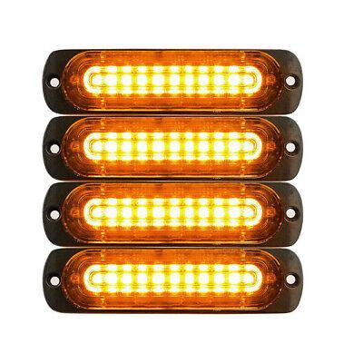 4pcs 10 LED Strobe Lights Emergency Flashing Warning Beacon Yellow Amber 12V 24V