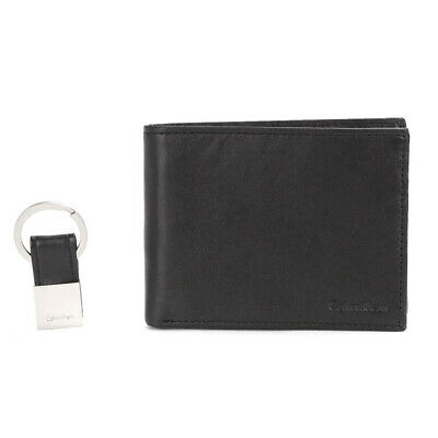 Calvin Klein Men's  79220 RFID Leather Bookfold Wallet Key Fox Gift Box Set Blk