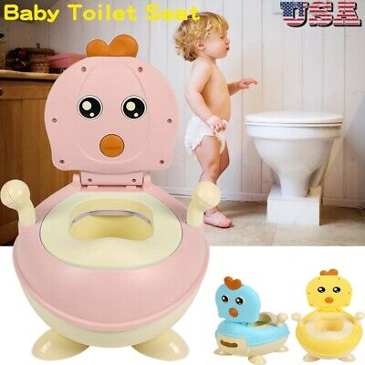 Kid Baby Potty Training Seat Portable Toddler Lovely Toilet Seat Stool Chair US