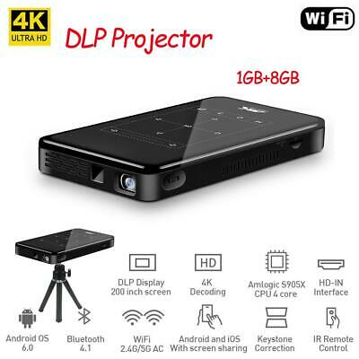 Mini 4K Smart DLP Projector Android 8G Home Theater Pocket Beamer WiFi BT HDMI