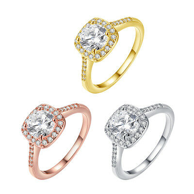 Made with Swarovski Elements 18K White Gold Halo Ring 3 Colors Size 4-12 -